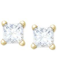 Macy's - Princess-cut Diamond Stud Earrings In 10k Gold (1/4 Ct. T.w.) - Lyst
