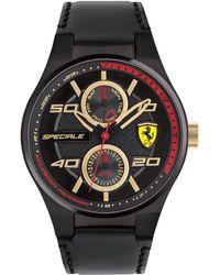 Ferrari - Men's Speciale Multi Black Leather Strap Watch 44mm 0830418 - Lyst