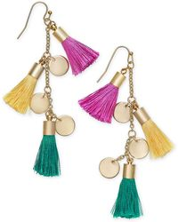 INC International Concepts - I.n.c. Gold-tone Tassel And Shaky Disc Drop Earrings, Created For Macy's - Lyst