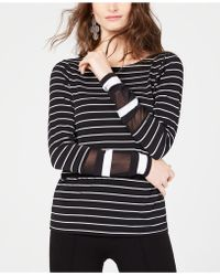 INC International Concepts - I.n.c. Long-sleeve Illusion-stripe Top, Created For Macy's - Lyst