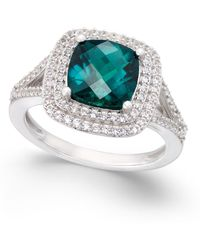 Macy's - Lab-created Emerald (1-1/2 Ct. T.w.) And White Sapphire (1/2 Ct. T.w.) Ring In Sterling Silver - Lyst