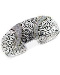 Effy Collection - Diamond (5/8 Ct. T.w.) Swirl Pattern Hinged Cuff Bracelet In Sterling Silver & 18k Gold - Lyst