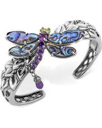 Carolyn Pollack - Multi-gemstone Dragonfly Bangle Bracelet (9-3/4 Ct. T.w.) In Sterling Silver - Lyst