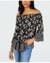 503dde693c4 Lyst - Style & Co. Petite Printed Off-the-shoulder Top, Created For ...