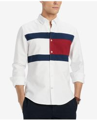 Tommy Hilfiger - Pieced New England Colorblocked Custom Fit Shirt, Created For Macy's - Lyst
