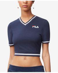 Fila - Narla V-neck Cropped T-shirt - Lyst