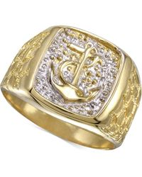 Macy's - Anchor Ring In 10k Gold & Rhodium-plate - Lyst