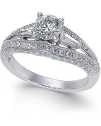 Macy's - Diamond Split Shank Engagement Ring (1-1/2 Ct. T.w.) In 14k White Gold - Lyst