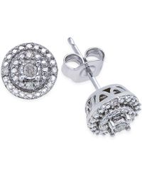 Macy's - Diamond Stud Earrings (1/10 Ct. T.w.) In Sterling Silver - Lyst