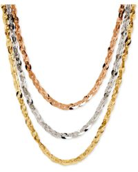 Macy's - Tri-tone Three Row Necklace In 14k Rose, White And Yellow Gold - Lyst