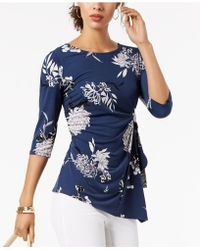 Alfani - Petite Floral-print Tie-side Top, Created For Macy's - Lyst