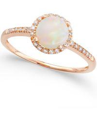 Macy's - Opal (3/4 Ct. T.w.) And Diamond (1/8 Ct. T.w.) Ring In 14k Rose Gold - Lyst
