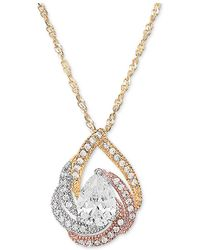 "Macy's - Cubic Zirconia Tri-color Swirl 18"" Pendant Necklace In 14k Tricolor Gold-plated Sterling Silver - Lyst"