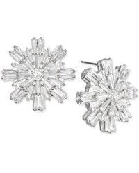 Badgley Mischka | Baguette Crystal Starburst Cluster Stud Earrings | Lyst
