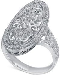 Macy's - Diamond (1/4 Ct. T.w.) Oval Openwork Ring In Sterling Silver - Lyst