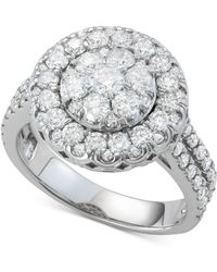 Macy's - Diamond Halo Cluster Engagement Ring (2 Ct. T.w.) In 14k White Gold - Lyst
