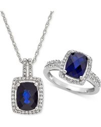 Macy's - Lab Created Sapphire (4 Ct. T.w.) & White Sapphire (1 Ct. T.w.) Pendant Necklace & Ring In Sterling Silver - Lyst