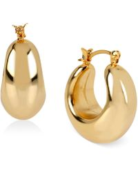 Hint Of Gold - Wide Hoop Earrings In 14k Gold Over Sterling Silver - Lyst
