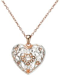 """Giani Bernini - Two-tone Filigree Heart 18"""" Pendant Necklace In Sterling Silver & Rose Gold-plate, Created For Macy's - Lyst"""