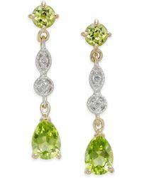 Macy's - Peridot (2-1/3 Ct. T.w.) & Diamond Accent Drop Earrings In 14k Gold - Lyst