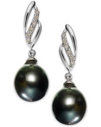 Macy's - 14k White Gold Tahitian Pearl (9mm) And Diamond (1/10 Ct. T.w.) Drop Earrings - Lyst