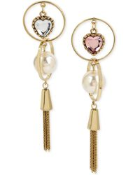 Betsey Johnson - Gold-tone Imitation Pearl & Crystal Heart Mismatch Fringe Drop Earrings - Lyst