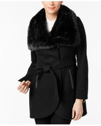 French Connection - Asymmetrical Mixed-media Coat - Lyst