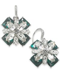 Charter Club - Silver-tone Emerald Crystal Drop Earrings, Created For Macy's - Lyst