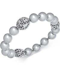 Charter Club - Large Bead & Imitation Pearl Stretch Bracelet, Created For Macy's - Lyst