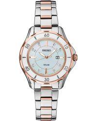 Seiko - Women's Solar Dress Sport Diamond-accent Two-tone Stainless Steel Bracelet Watch 33mm - Lyst