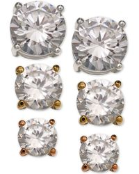 Giani Bernini - 3-pc. Set Cubic Zirconia Stud Earrings In Sterling Silver, 18k Gold-plated And Rose Gold-plated Sterling Silver - Lyst