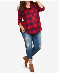 e9d056dfab0a7 Jessica Simpson - Maternity Plus Size Distressed Girlfriend Jeans - Lyst
