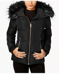 Guess | Faux-fur-trimmed Hooded Down Puffer Coat | Lyst