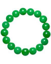 Macy's - Dyed Green Jade (12mm) Beaded Stretch Bracelet - Lyst
