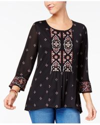Style & Co. - Beaded Embroidered Top - Lyst