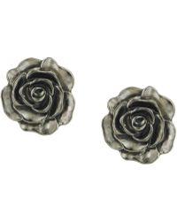 2028 - Silver-tone Jet Enamel Flower Stud Earrings, A Macy's Exclusive Style - Lyst