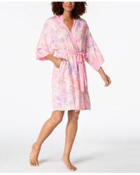 Miss Elaine - Printed Short Wrap Robe - Lyst