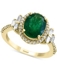 Effy Collection Effy® Emerald (2-1/8 Ct. T.w.) & Diamond (1/2 Ct. T.w.) Statement Ring In 14k Gold - Green