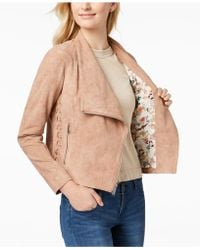 BCBGeneration - Bgbgeneration Faux-suede Lace-up Moto Jacket - Lyst