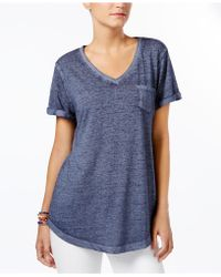 Style & Co. - V-neck Burnout Pocket Tee - Lyst
