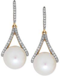 Macy's - Freshwater Pearl (9mm) And Diamond (1/5 Ct. T.w.) Drop Earrings In 14k Gold - Lyst