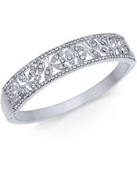 Charter Club - Silver-tone Pavé Filigree Bangle Bracelet - Lyst