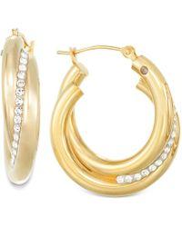 Signature Gold - Crystal Interlocked Hoop Earrings In 14k Gold - Lyst
