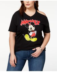 Disney - Plus Size Mickey Mouse Cold-shoulder T-shirt - Lyst