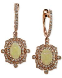 Effy Collection - Effy Opal (9/10 Ct. T.w.) And Diamond (3/8 Ct. T.w.) Drop Earrings In 14k Rose Gold - Lyst