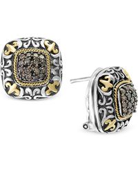 Effy Collection - Diamond Square Cluster Filigree Stud Earrings (5/8 Ct. T.w.) In Sterling Silver And 18k Gold - Lyst