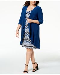 R & M Richards - Plus Size Printed Dress, Waterfall Jacket & Necklace - Lyst