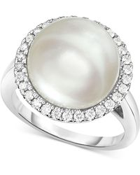 Macy's - Cultured South Sea Pearl (12mm) And Diamond (1/3 Ct. T.w.) Halo Ring In 14k White Gold - Lyst