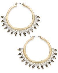 "INC International Concepts - I.n.c. Large 1.6"" Gold-tone Bead & Imitation Pearl Hoop Earrings, Created For Macy's - Lyst"