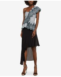 BCBGMAXAZRIA - One-shoulder Embroidered Peplum Top - Lyst